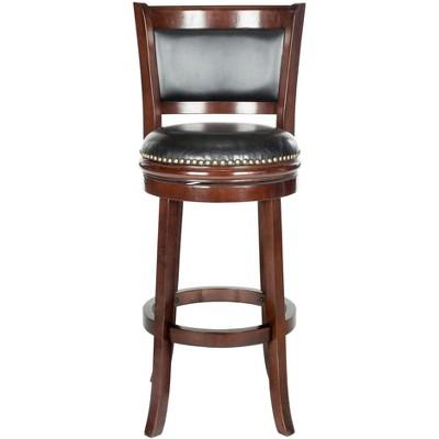 Brockway Swivel Bar Stool - Cappuccino/Black - Safavieh