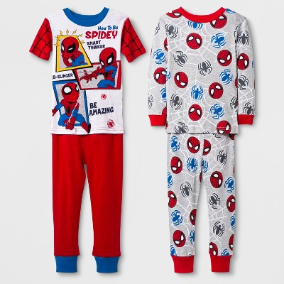 Toddler Boys' Spider-Man 4pc Pajama Set - Red 2T