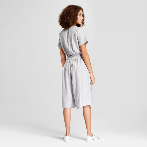 f3bc2b108c9 Women s Striped Short Sleeve Tie Waist Jumpsuit - A New Day™ Gray White M    Target