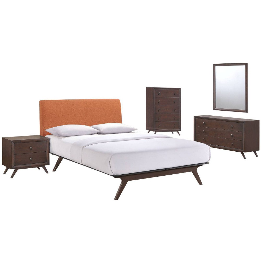 5pc Tracy Bedroom Set - Queen - Cappuccino Orange - Modway, Cappuccino Orange/Black