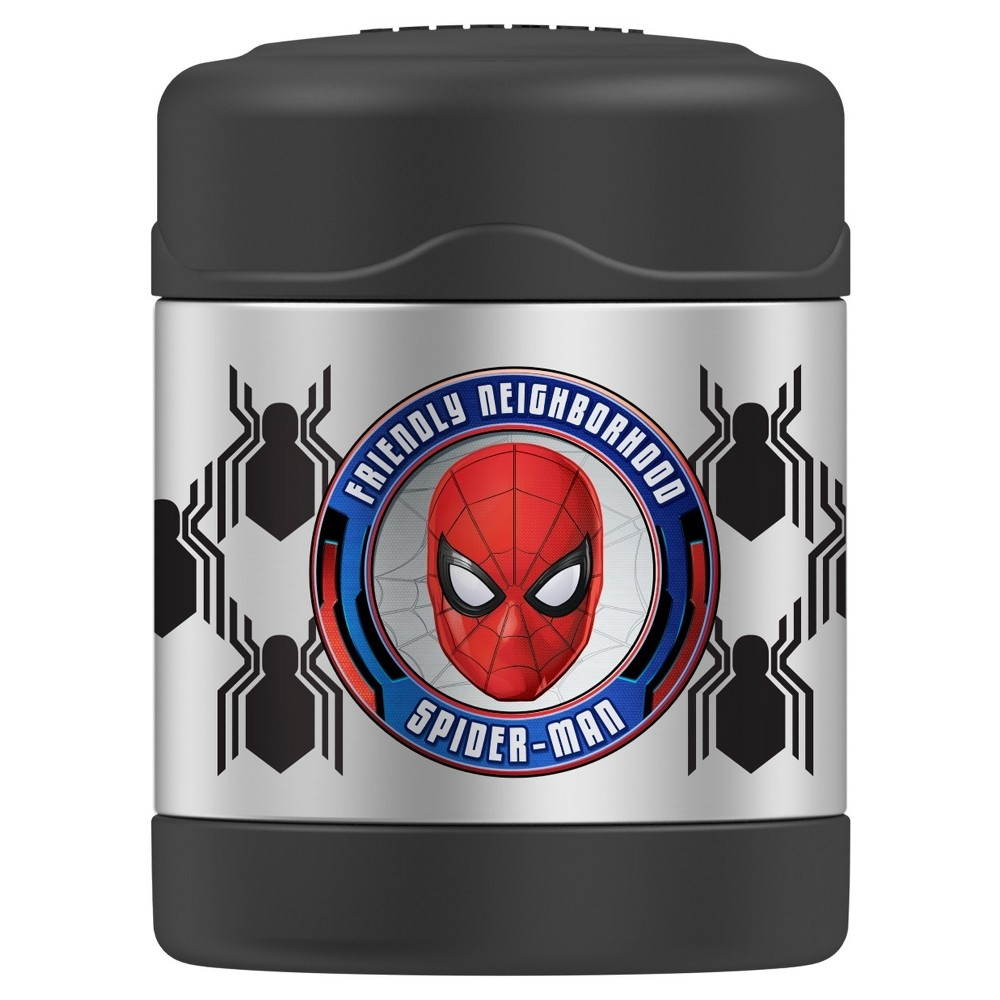 Genuine Thermos Spider-Man Funtainer Stainless Steel Food Jar - Black (10oz) This Spiderman Funtainer food Jar from Thermos brand is a perfect choice for kids' lunches. Featuring Thermos vacuum insulation and durable stainless steel, this food jar will keep food hot for 5 hours or cold for 7. It has a 10oz capacity and an extra wide mouth that makes it easy to fill, eat from and clean. Color: Black.