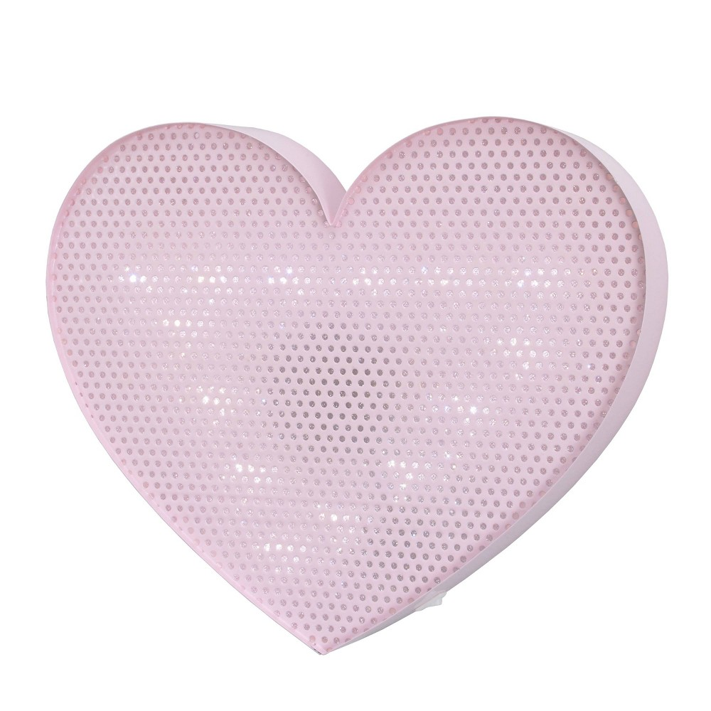 Image of Nojo Lighted Room Heart Decorative Wall Sculpture Pink