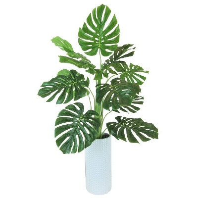 "36"" x 18"" Artificial Monstera Plant in Ceramic Planter White - LCG Florals"