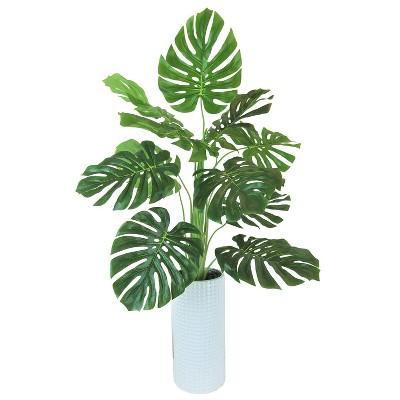 "36"" x 18"" Artificial Monstera Plant in Ceramic Planter White - LCG Florals"