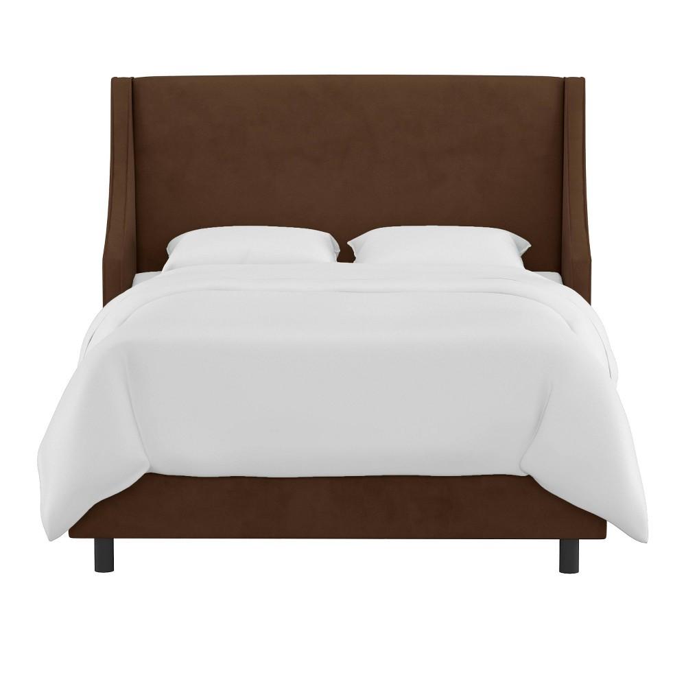 Queen Swoop Arm Wingback Bed Velvet Chocolate Skyline Furniture