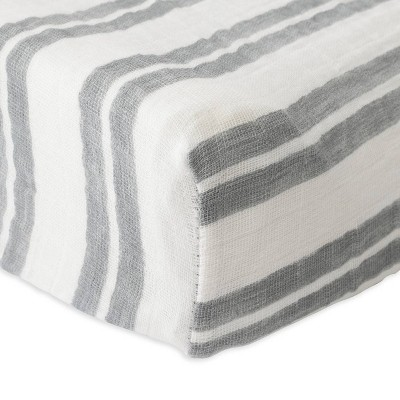 Red Rover Cotton Muslin Changing Pad Cover - Gray Double Stripe