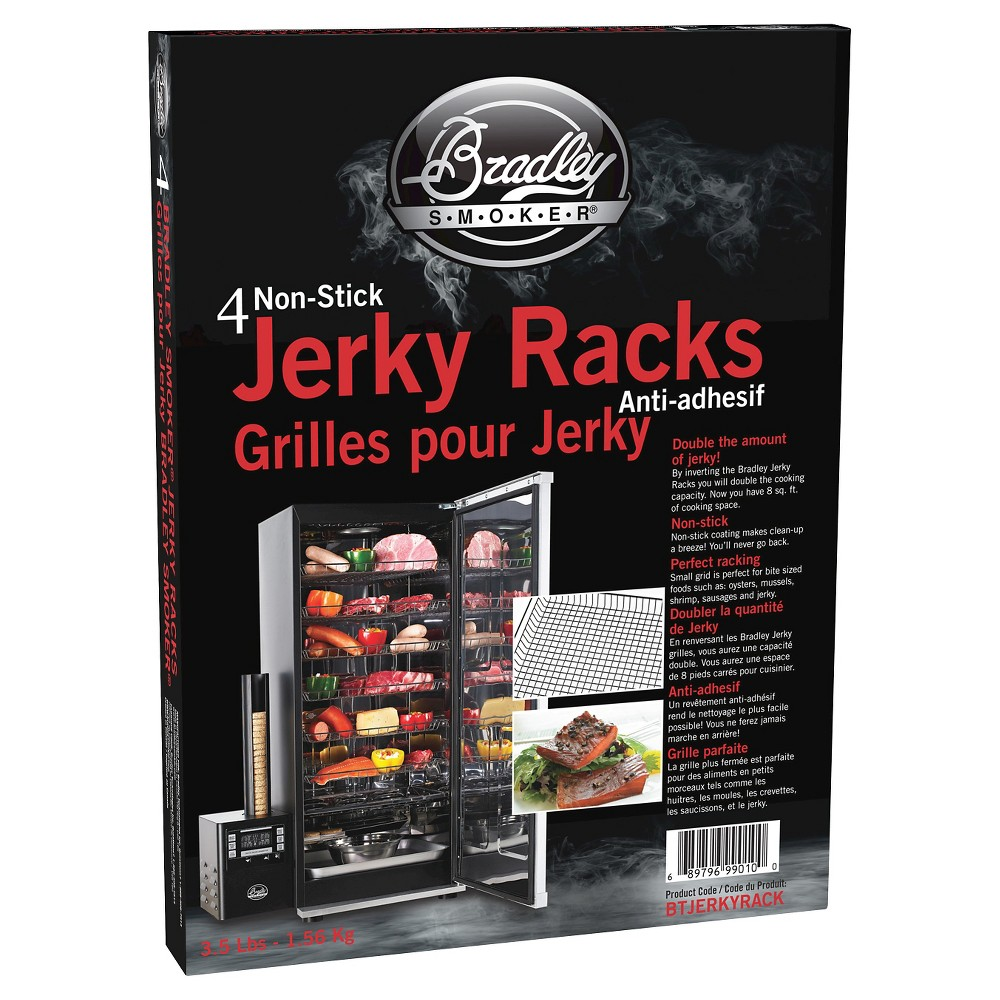 Non-Stick Jerky Set of 4 Grill Racks - Stainless Steel - Bradley Smoker, Silver The non-stick coated Jerky Racks have a smaller mesh opening that are ideal for cooking smaller items like beef jerky, oysters, almonds, vegetables and sausages. Color: Silver.