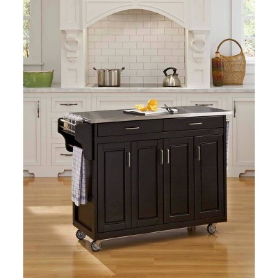 Kitchen Carts And Islands Stainless Top Black - Home Styles