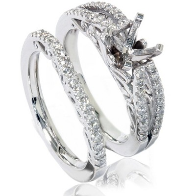 Pompeii3 3/4ct Vintage Diamond Engagement Ring Bridal Set 14K White Gold