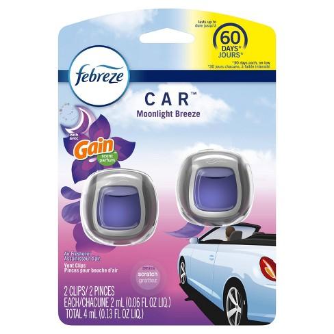 Febreze Car Odor-Eliminating Air Freshener Vent Clip with Gain Scent - Moonlight Breeze - 2ct - image 1 of 4