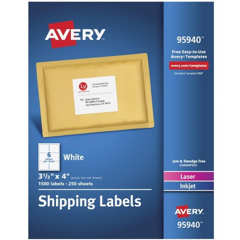 Avery 95940 Shipping Labels, 3-1/3 x 4 Inches, White, pk of 1,500 - image 1 of 3