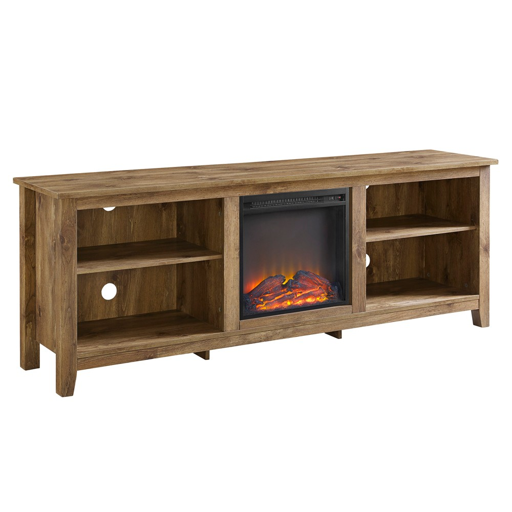 70 Wood Media TV Stand Console with Fireplace - Barnwood - Saracina Home