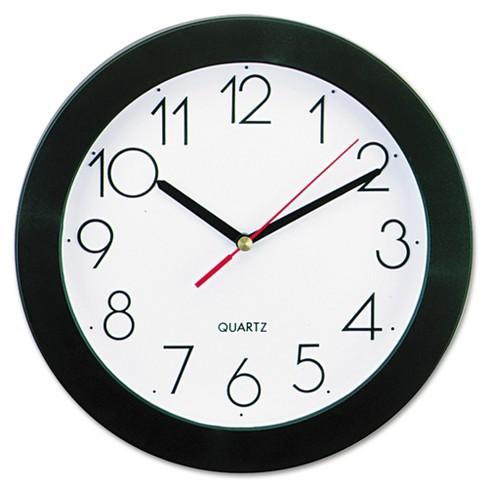 "9"" Round Wall Clock White/Black - Universal - image 1 of 2"