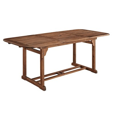 Ravenscroft Modern Boho Acacia Wood Slat Top Rectangle Extendable Outdoor Table - Saracina Home