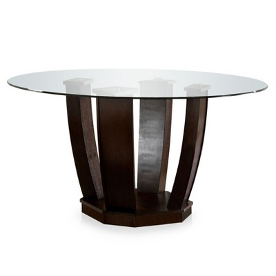 SpurtonOpen Base Glass Table Top Dining Table Espresso   IoHOMES