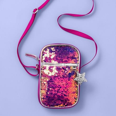 Girls' Flip Sequin Crossbody Bag - More Than Magic™ Purple - image 1 of 3