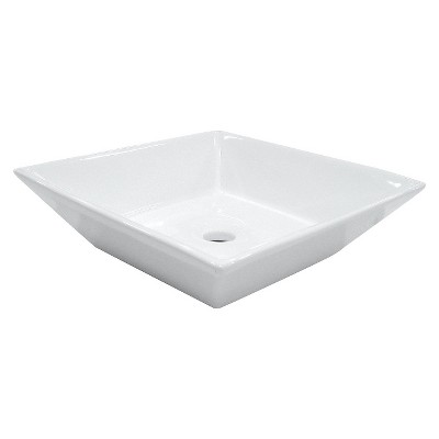 White Vitreous China Vessel Bathroom Sink   Kingston Brass