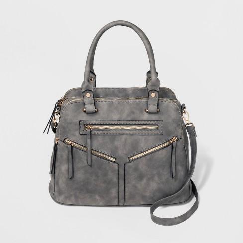 Logan Satchel Handbag With Diagonal Zip Pockets Gray