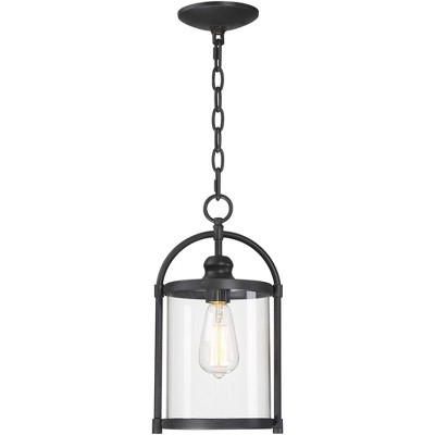 """John Timberland Modern Outdoor Ceiling Light Hanging Black 15"""" Cylindrical Glass for Exterior House Porch Patio Deck"""