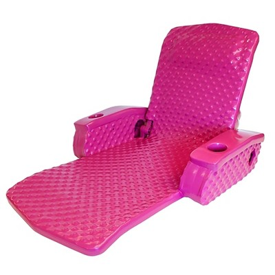 TRC Recreation Super Soft Portable Floating Swimming Pool Water Lounger Comfortable Adjustable Recliner Chair with Armrest Cup Holders, Flamingo Pink