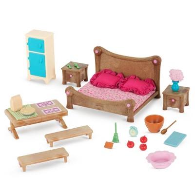 Li'l Woodzeez Miniature Furniture Playset 26pc - Master Bedroom & Dining Set