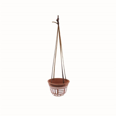 Natural Terracotta with Hand Painted Pattern and Faux Leather Straps Hanging Planter - Foreside Home & Garden