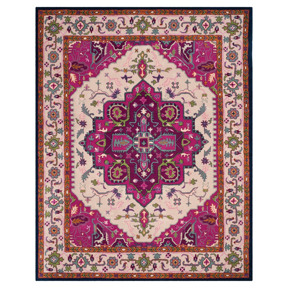 Ivory/Pink Medallion Tufted Area Rug 6'x9' - Safavieh