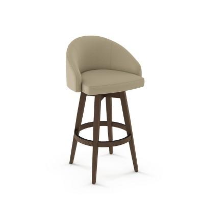 Keaton Swivel Counter Height Barstool Beige Fabric/Brown Wood - Amisco