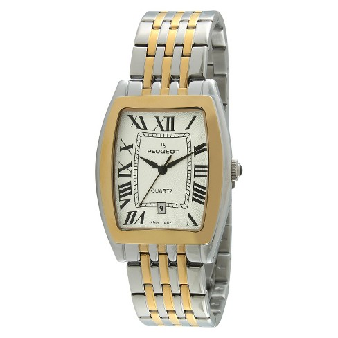 Men's Peugeot® Tourneau Guilloché  Dial Bracelet Watch - Gold - image 1 of 2