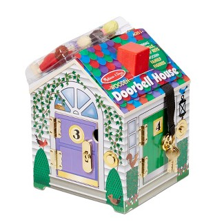 Melissa & Doug® Take-Along Wooden Doorbell Dollhouse - Doorbell Sounds, Keys, 4 Poseable Wooden Dolls