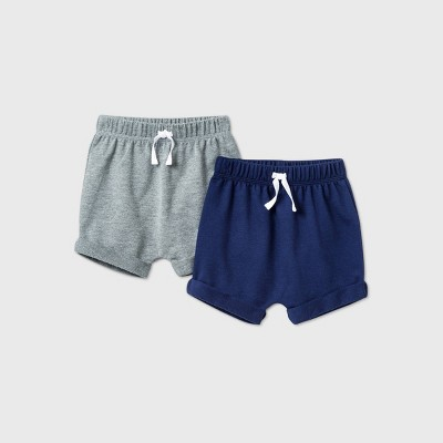 Baby Boys' 2pk Pull-On Shorts - Cat & Jack™ Blue 3-6M