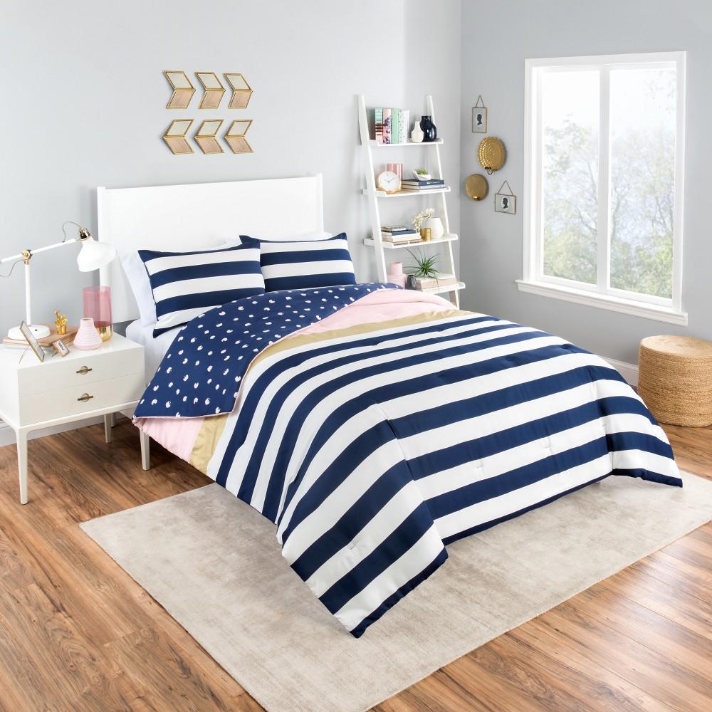 Pink Glam Stripe Reversible Comforter Set (Twin XL) 2pc - Vue, Blue Pink