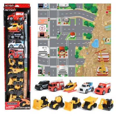 Maxx Action Deluxe Vehicles - Mini Construction and Rescue with Play Mat - 10 pk