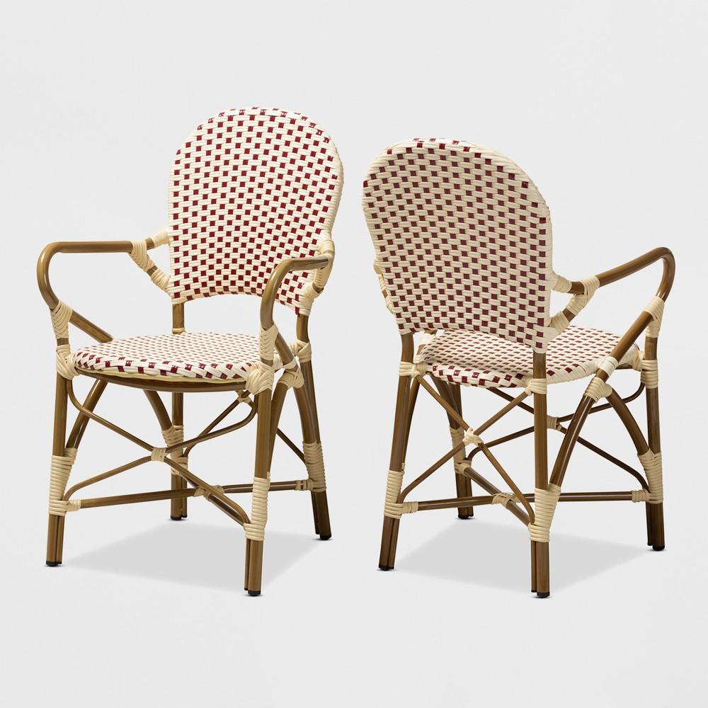 Set of 2 Seva Indoor and Outdoor Stackable Bistro Dining Chairs Beige/Red - BaxtonStudio