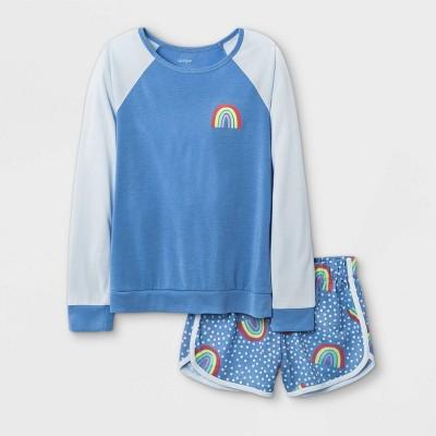 Girls' 2pc Rainbow Pajama Set - Cat & Jack™ Blue