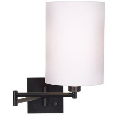 Franklin Iron Works Modern Swing Arm Wall Lamp Espresso Bronze Plug-In Light Fixture White Cotton Cylinder Shade Bedroom Bedside