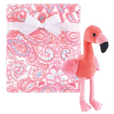 Hudson Baby Unisex Baby Plush Blanket with Toy Flamingo - One Size
