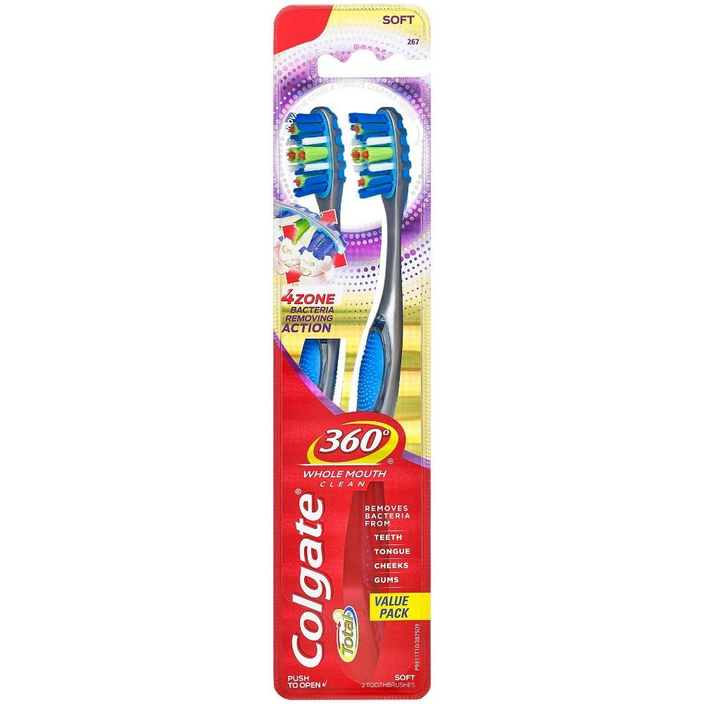 Colgate 360 Advanced 4 Zone Toothbrush Soft - 2ct