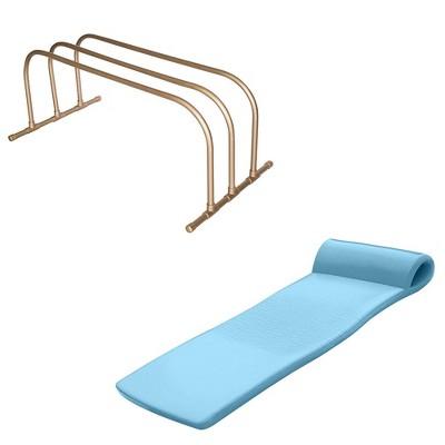 TRC Recreation PVC Pool Float Storage Drying Rack w/ Foam Lounger Metallic Blue