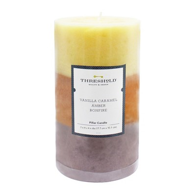 7  x 4  Layered Mottled Pillar Candle Vanilla Caramel/Amber/Bonfire - Threshold™