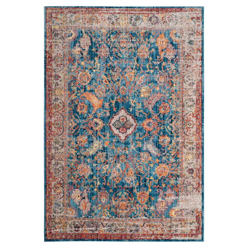 Blue/Light Gray Floral Loomed Area Rug 9'X12' - Safavieh
