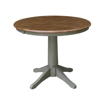 """36"""" Dining Height Magnolia Round Top Pedestal Drop Leaf Dining Table Hickory Brown/Stone Gray - International Concepts"""