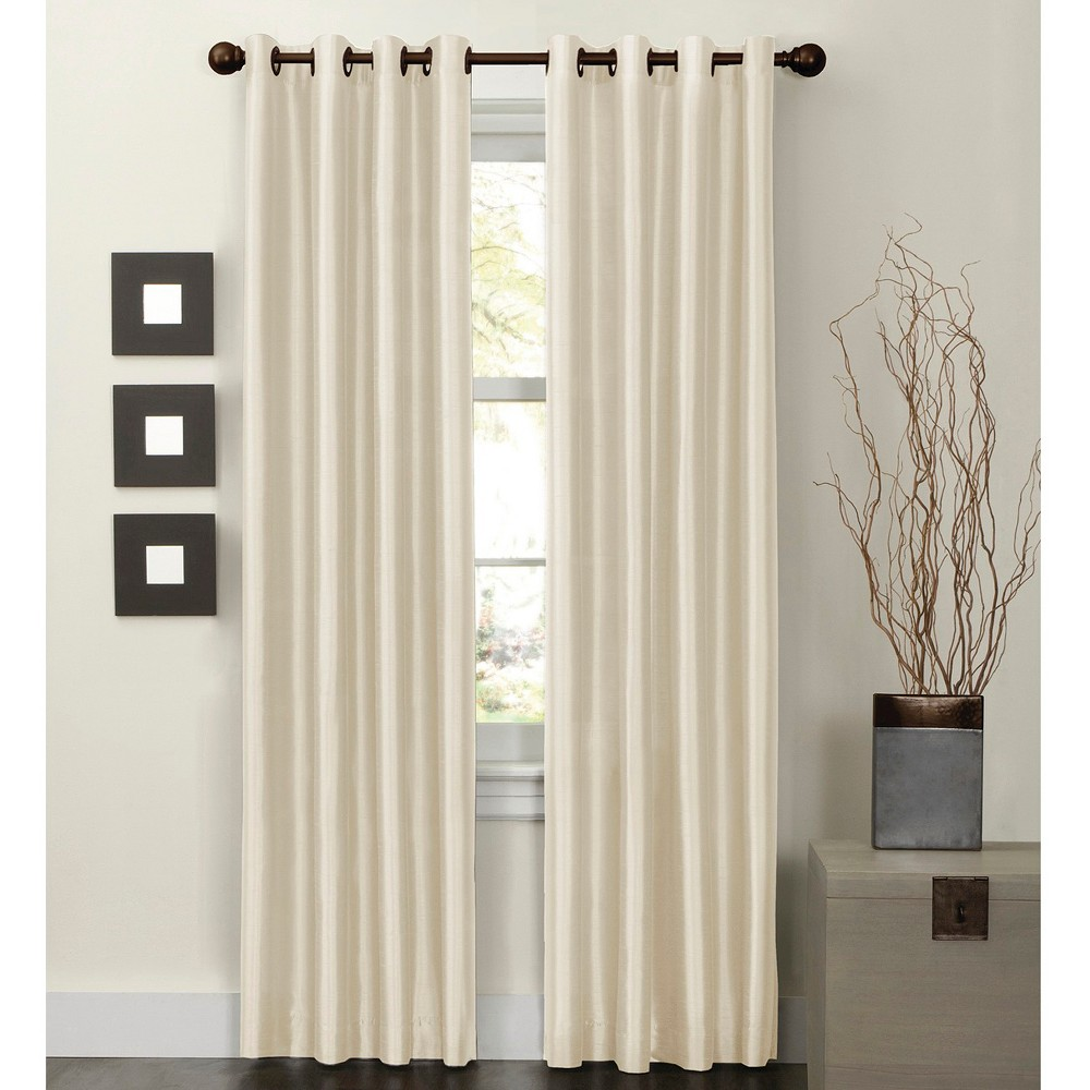 "Image of ""54""""x84"""" Jardin Thermal Lined Room Darkening Curtain Panel Natural - Thermal Shield"""