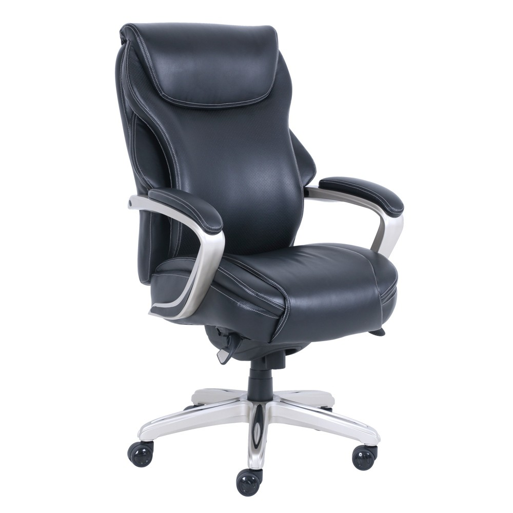 Hyland Bonded Leather Executive Office Chair with Air Technology Black/Silver - La-Z-Boy