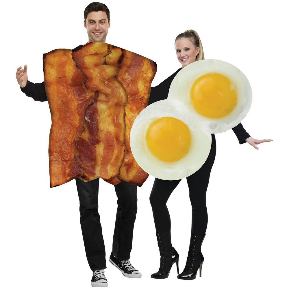 Image of Halloween Adult Bacon and Eggs Couples Costumes One Size (Includes 2 Costumes), Adult Unisex, Brown