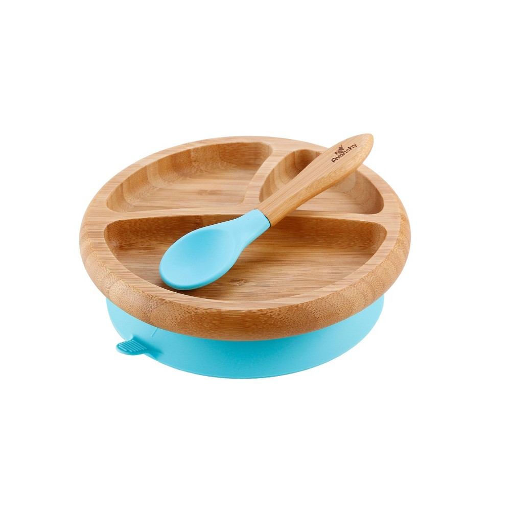 Image of Avanchy Bamboo Baby Plate - Blue