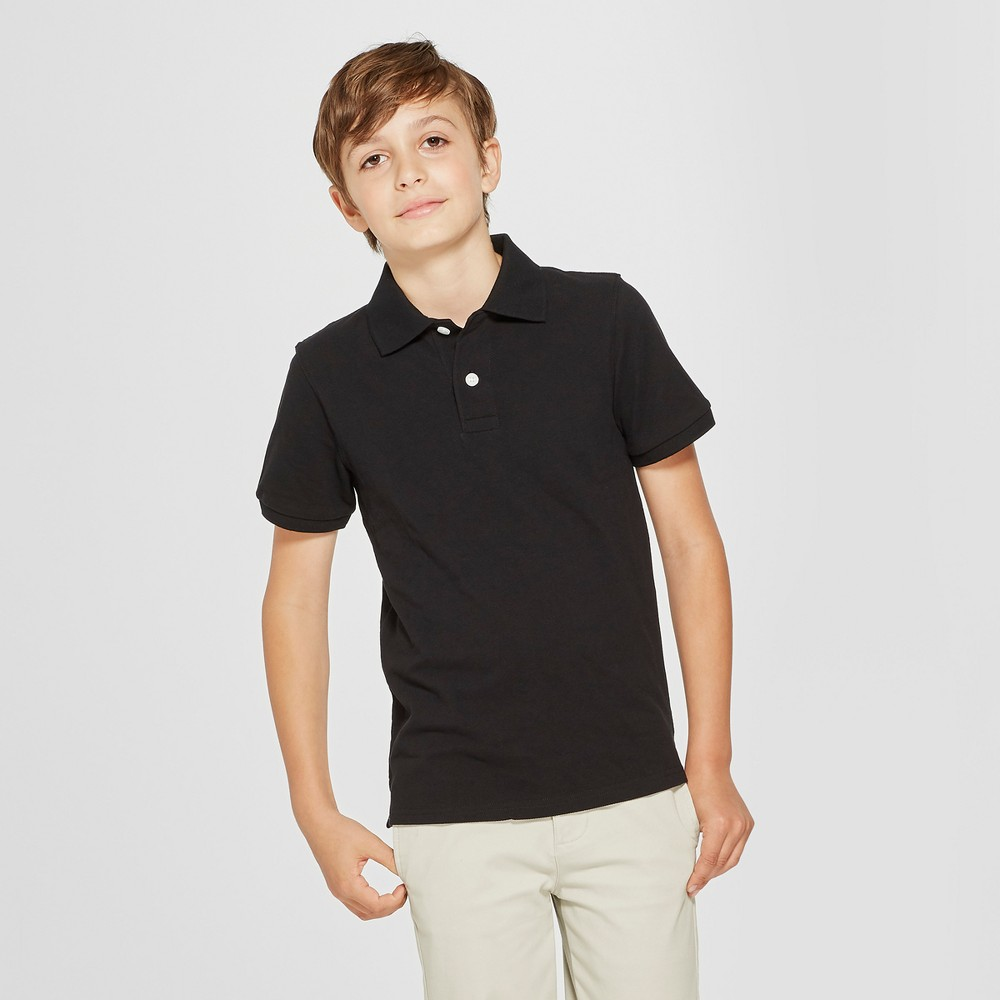 Boys' Short Sleeve Pique Uniform Polo Shirt - Cat & Jack Black S