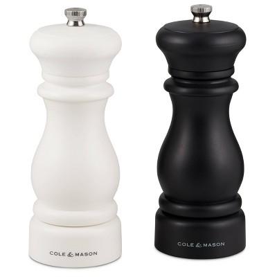 "Cole & Mason 6"" Southwold Salt and Pepper Mill Set Black/White"