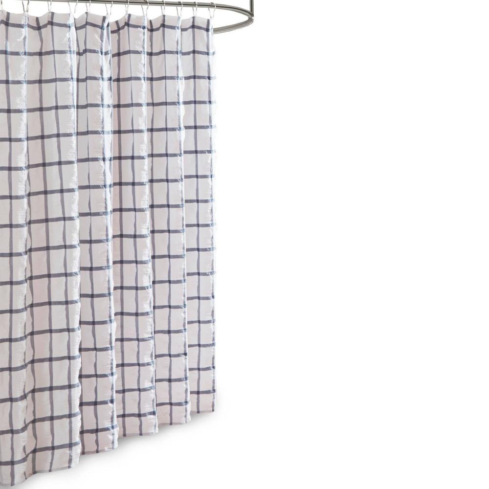 """Image of """"72""""""""x72"""""""" Jander Seersucker Shower Curtain White/Navy"""""""