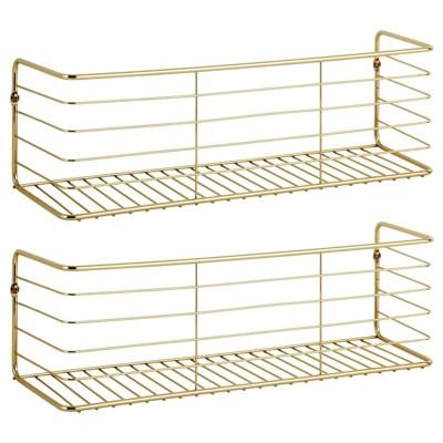 mDesign Wide Metal Wall Mount Storage Organizer Display Shelf - 2 Pack, Black